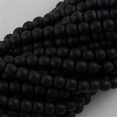200 Czech 4mm Pressed Glass Round Beads Matte Jet Black (23980M)