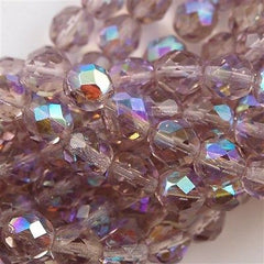 50 Czech Fire Polished 8mm Round Bead Light Amethyst AB FP8-20020X