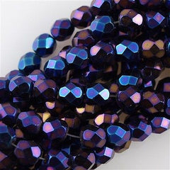 50 Czech Fire Polished 8mm Round Bead Blue Iris (21435)