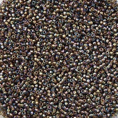 Toho Round Seed Bead 11/0 Inside Color Lined Gold Gray AB 19g Tube (999)