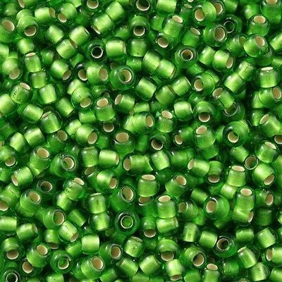 Toho Round Seed Bead 8/0 Silver Lined Transparent Matte Green 5.5-inch tube (27F)