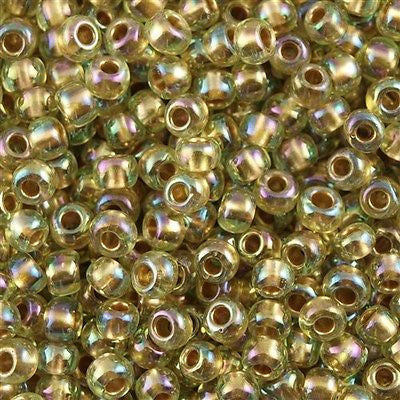 Toho Round Seed Bead 8/0 Inside Color Lined Gold Jonquil AB 30g (998)
