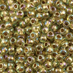 Toho Round Seed Bead 8/0 Inside Color Lined Gold Jonquil AB 5.5-inch tube (998)
