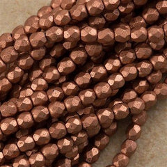 100 Czech Fire Polished 3mm Round Bead Matte Metallic Copper (01770K)