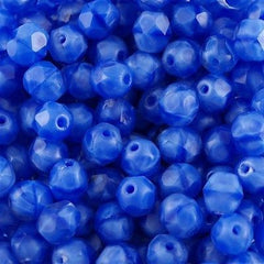 50 Czech Fire Polished 8mm Round Bead Dark Blue Coral (36027)