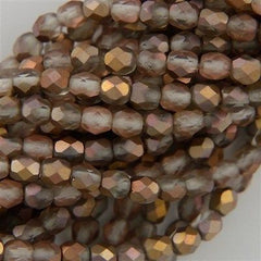 100 Czech Fire Polished 4mm Round Bead Matte Apollo Gold (27171)