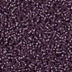 Miyuki Round Seed Bead 15/0 Dyed Semi Matte Silver Lined Mulberry 2-inch Tube (1655)