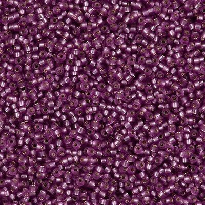 Miyuki Round Seed Bead 15/0 Semi Matte Silver Lined Dyed Lavender 10g (1650)