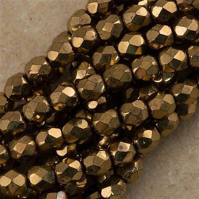 100 Czech Fire Polished 4mm Round Bead Bronze (90215)