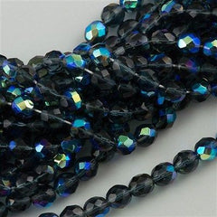 50 Czech Fire Polished 8mm Round Bead Montana Blue AB (30330X)