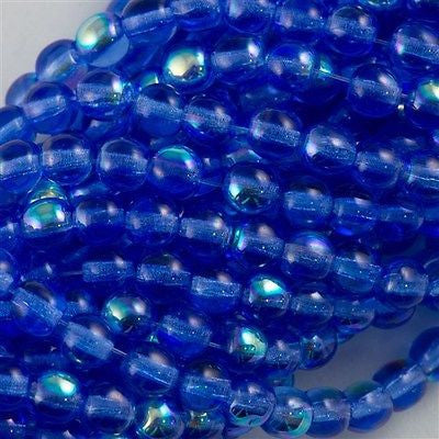 200 Czech 4mm Pressed Glass Round Beads Sapphire AB (30050X)