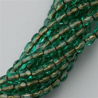 100 Czech Fire Polished 3mm Round Beads Copper Lined Emerald (50730CL)