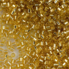 Toho Hex Seed Bead 11/0 Transparent Silver Lined Gold 15g (22)