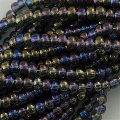 Czech Seed Bead Transparent Black Crystal AB 30g 6/0 6-41010