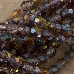 50 Czech Fire Polished 6mm Round Bead Amethyst Blue Crystal Luster (91006)