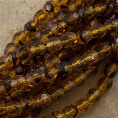 100 Czech Fire Polished 4mm Round Bead Tortoise (18036)