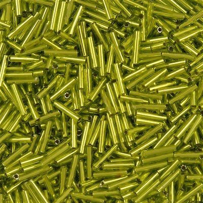 Toho 9mm Bugle Seed Bead Silver Lined Lime Green 15g (24)