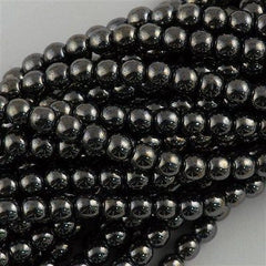200 Czech 4mm Pressed Glass Round Beads Hematite (14400)