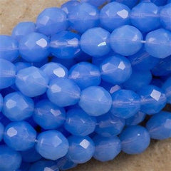 50 Czech Fire Polished 8mm Round Bead Light Milky Sapphire FP8-31000