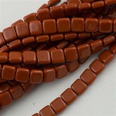 50 CzechMates 6mm Two Hole Tile Beads Umber (13610)