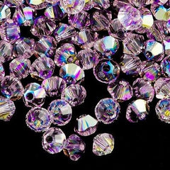 144 Swarovski 5328 Xilion Crystal 3mm Bicone Bead Light Amethyst AB (212 AB)