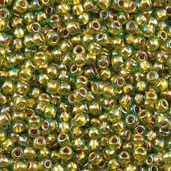 Toho Round Seed Bead 8/0 Inside Color Lined Gold Lime AB 5.5-inch tube (996)