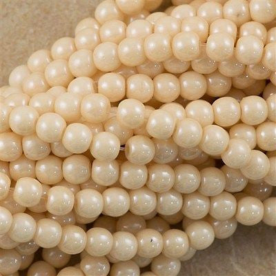 200 Czech 4mm Pressed Glass Round Beads Opaque Champagne Luster (14413P)