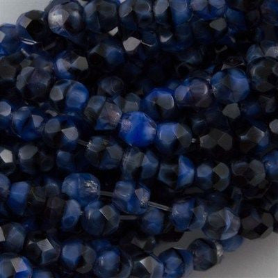 100 Czech Fire Polished 3mm Round Bead Blue with Black Swirl (26307)