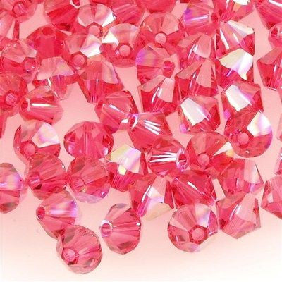 144 Swarovski 5328 Xilion 4mm Bicone Bead Indian Pink AB (289 AB)
