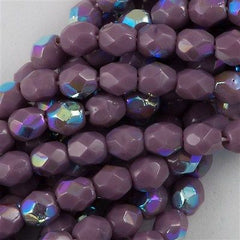 100 Czech Fire Polished 4mm Round Bead Opaque Purple AB FP4-23030X