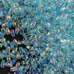 Miyuki Long Drop Seed Bead Inside Color Lined Glacier Blue AB 15g (269)
