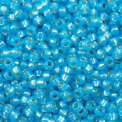 Miyuki Round Seed Bead 11/0 Silver Lined Dyed Aqua Blue 15g (647)