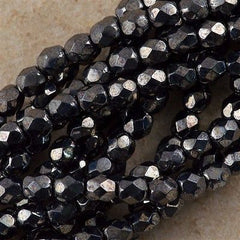 100 Czech Fire Polished 4mm Round Bead Hematite (14400)