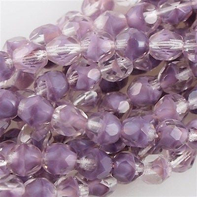 50 Czech Fire Polished 8mm Round Bead Amethyst Crystal (26028)