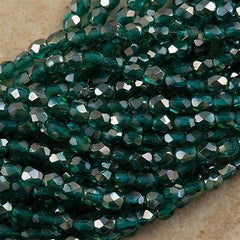 100 Czech Fire Polished 3mm Round Bead Viridian Celsian (60230Z)