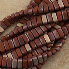 50 CzechMates 3x6mm Two Hole Brick Beads Matte Umber Apollo (13610AM)