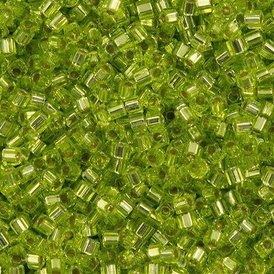 Miyuki 1.8mm Cube Seed Bead Silver Lined Lime Green 15g SB1-14