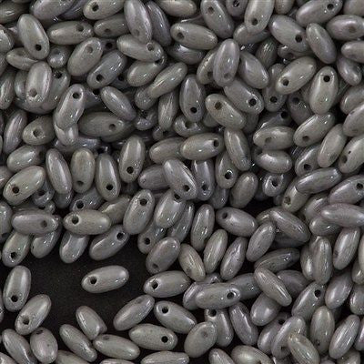 Czech Rizo 2.5x6mm Beads Opaque Grey Luster 15g RZ-14449P