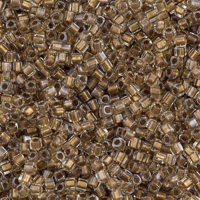 Miyuki 1.8mm Cube Seed Bead Inside Color Lined Gold Luster 15g SB1-234