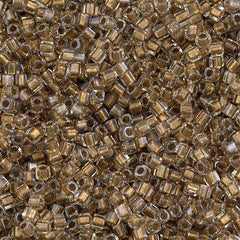 Miyuki 1.8mm Cube Seed Bead Inside Color Lined Gold Luster 15g (234)