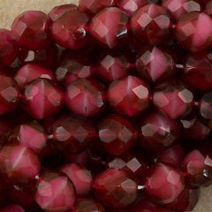 50 Czech Fire Polished 8mm Round Bead Pearl Fuchsia (67080)