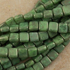 50 CzechMates 6mm Two Hole Tile Beads Spring Green Moon Dust (53200MD)
