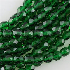 50 Czech Fire Polished 8mm Round Bead Green Emerald (50140)