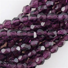 50 Czech Fire Polished 8mm Round Bead Amethyst (20060)