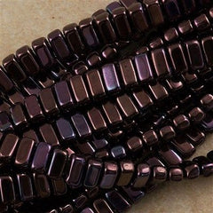 50 CzechMates 3x6mm Two Hole Brick Beads Metallic Amethyst Luster (15726B)