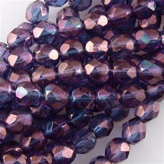 50 Czech Fire Polished 6mm Round Bead Transparent Amethyst Luster (15726)