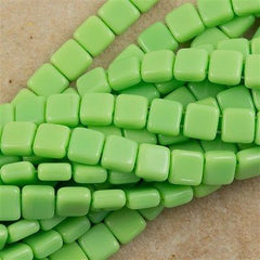 50 CzechMates 6mm Two Hole Tile Beads Opaque Spring Green T6-53200