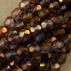 50 Czech Fire Polished 6mm Round Bead Amethyst Crystal Luster (91011)