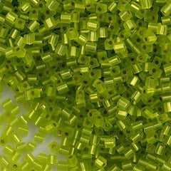 Miyuki 3mm Cube Seed Bead Matte Silver Lined Lime Green 15g (14F)