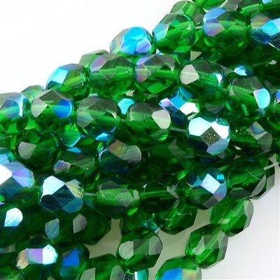 50 Czech Fire Polished 8mm Round Bead Green Emerald AB (50140X)